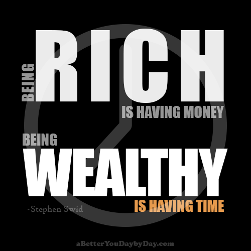 Quote: Being rich is having money; being wealthy is having time.